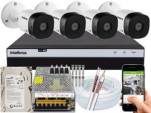Kit CFTV Intelbras 04 Câmeras VHD 1120 B G5 e DVR de 04 Canais MHDX 3104 500GB 10A
