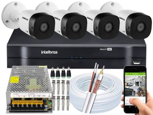 Kit CFTV Intelbras 04 Câmeras VHD 1010 B G5 e DVR de 04 Canais MHDX 1104 Sem HD 10A