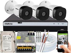 Kit CFTV Intelbras 03 Câmeras VHD 1010 B G5 e DVR de 04 Canais MHDX 3104 500GB 10A