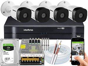 Kit CFTV Intelbras 04 Câmeras VHD 1010 B G5 e DVR de 08 Canais MHDX 1108 1TB 10A