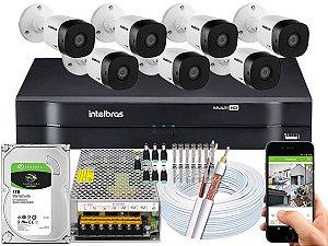 Kit CFTV Intelbras 07 Câmeras VHD 1010 B G5 e DVR de 08 Canais MHDX 1108