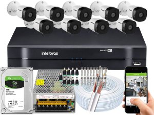 Kit CFTV Intelbras 09 Câmeras VHD 1010 B G5 e DVR de 16 Canais MHDX 1116