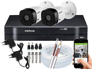 Kit CFTV Intelbras 02 Câmeras VHL 1120 B e DVR de 04 Canais MHDX 1104 Sem HD