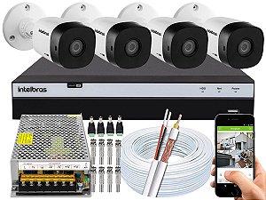 Kit CFTV Intelbras 04 Câmeras VHD 1120 B G5 e DVR de 04 Canais MHDX 3104 Sem HD 10A