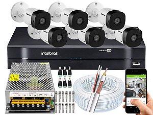 Kit CFTV Intelbras 06 Câmeras VHD 1120 B G5 e DVR de 08 Canais MHDX 1108 Sem HD 10A