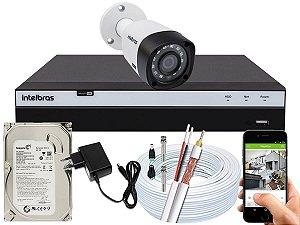Kit CFTV Intelbras 01 Câmera VHD 3230 B G4 e DVR de 04 Canais MHDX 3104 500GB