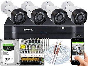 Kit CFTV Intelbras 04 Câmeras VHD 3230 B G4 e DVR de 04 Canais MHDX 1104 10A