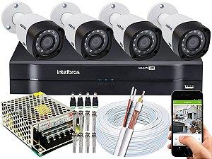 Kit CFTV Intelbras 04 Câmeras VHD 3230 B G4 e DVR de 04 Canais MHDX 1104 Sem HD
