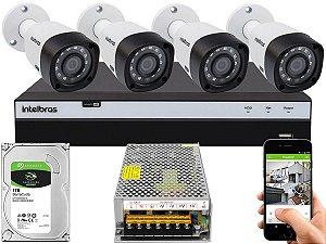 Kit CFTV Intelbras 04 Câmeras VHD 3230 B G4 e DVR de 04 Canais MHDX 3104 Sem Cabo 10A