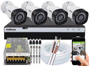 Kit CFTV Intelbras 04 Câmeras VHD 3230 B G4 e DVR de 04 Canais MHDX 3104 Sem HD 10A