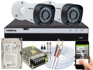 Kit CFTV Intelbras 02 Câmeras VHD 1220 B G4 e DVR de 04 Canais MHDX 3104 500GB 5A