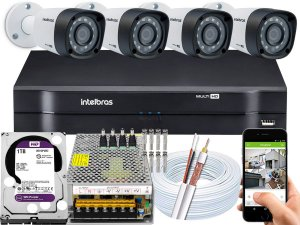 Kit CFTV Intelbras 04 Câmeras VHD 1220 B G4 e DVR de 04 Canais MHDX 1104 1TB WD Purple 10A