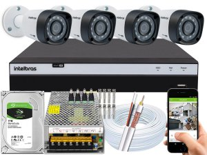 Kit CFTV Intelbras 04 Câmeras VHD 1220 B G4 e DVR de 04 Canais MHDX 3104 10A
