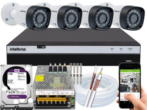 Kit CFTV Intelbras 04 Câmeras VHD 1220 B G4 e DVR de 04 Canais MHDX 3104 1TB WD Purple 10A