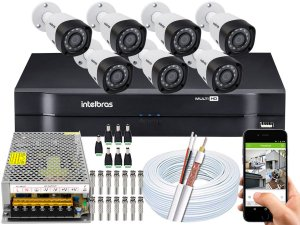 Kit CFTV Intelbras 07 Câmeras VHD 3230 B G4 e DVR de 08 Canais MHDX 1108 Sem HD