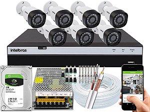 Kit CFTV Intelbras 07 Câmeras VHD 3230 B G4 e DVR de 08 Canais MHDX 3108
