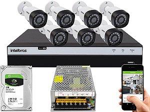 Kit CFTV Intelbras 07 Câmeras VHD 3230 B G4 e DVR de 08 Canais MHDX 3108 Sem Cabo