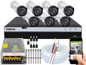 Kit CFTV Intelbras 07 Câmeras VHD 3230 B G4 e DVR de 08 Canais MHDX 3108 Sem HD