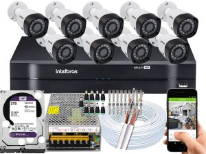 Kit CFTV Intelbras 09 Câmeras VHD 3230 B G4 e DVR de 16 Canais MHDX 1116 2TB WD Purple
