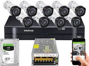 Kit CFTV Intelbras 09 Câmeras VHD 3230 B G4 e DVR de 16 Canais MHDX 1116 Sem Cabo