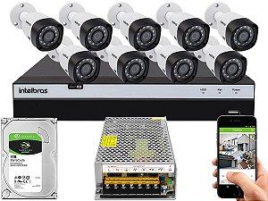 Kit CFTV Intelbras 09 Câmeras VHD 3230 B G4 e DVR de 16 Canais MHDX 3116 Sem Cabo