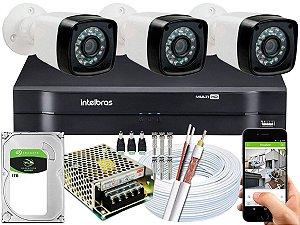 Kit CFTV 03 Câmeras Importadas e DVR de 04 Canais MHDX 1104 1TB
