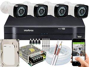 Kit CFTV 04 Câmeras Importadas e DVR de 04 Canais MHDX 1104 500GB