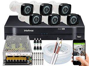 Kit CFTV 06 Câmeras Importadas e DVR de 08 Canais MHDX 1108 10A Sem HD