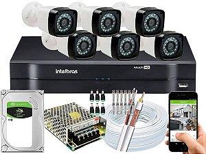 Kit CFTV 06 Câmeras Importadas e DVR de 08 Canais MHDX 1108 1TB
