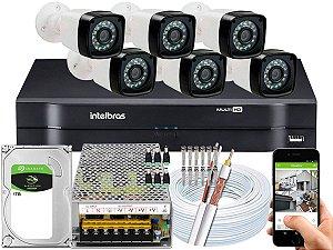 Kit CFTV 06 Câmeras Importadas e DVR de 08 Canais MHDX 1108 1TB 10A
