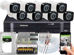 Kit CFTV 08 Câmeras Importadas e DVR de 08 Canais MHDX 1108 1TB