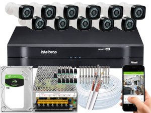 Kit CFTV 11 Câmeras Importadas e DVR de 16 Canais MHDX 1116 1TB