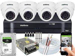 Kit CFTV Intelbras 04 Câmeras VHD 3220 D G4 e DVR de 04 Canais MHDX 1104 1TB