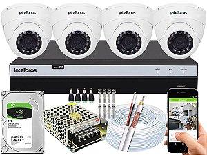 Kit CFTV Intelbras 04 Câmeras VHD 3220 D G4 e DVR de 04 Canais MHDX 3104 1TB