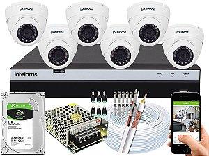 Kit CFTV Intelbras 06 Câmeras VHD 3220 D G4 e DVR de 08 Canais MHDX 3108 1TB