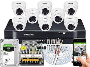 Kit CFTV Intelbras 08 Câmeras VHD 3220 D G4 e DVR de 08 Canais MHDX 1108 1TB