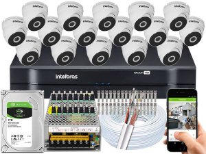 Kit CFTV Intelbras 16 Câmeras VHD 3120 D G5 e DVR de 16 Canais MHDX 1116 1TB