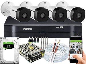 Kit CFTV Intelbras 04 Câmeras VHD 1220 B G5 e DVR de 04 Canais MHDX 1104 2TB