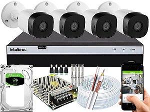 Kit CFTV Intelbras 04 Câmeras VHD 1220 B G5 e DVR de 04 Canais MHDX 3104 2TB