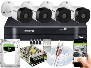Kit CFTV Intelbras 04 Câmeras VHD 1220 B G5 e DVR de 08 Canais MHDX 1108 2TB
