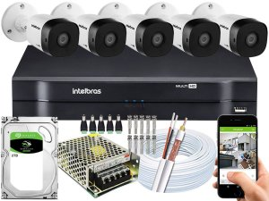 Kit CFTV Intelbras 05 Câmeras VHD 1220 B G5 e DVR de 08 Canais MHDX 1108 2TB