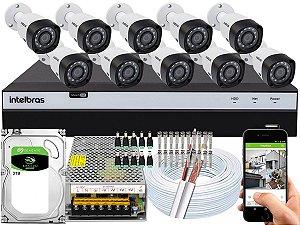Kit CFTV Intelbras 10 Câmeras VHD 3230 B G4 e DVR de 16 Canais MHDX 3116 2TB