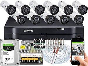 Kit CFTV Intelbras 11 Câmeras VHD 3230 B G4 e DVR de 16 Canais MHDX 1116 1TB