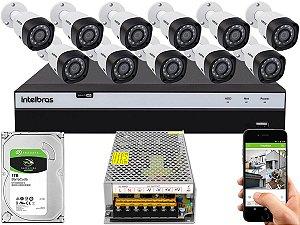 Kit CFTV Intelbras 11 Câmeras VHD 3230 B G4 e DVR de 16 Canais MHDX 3116 1TB Sem Cabo