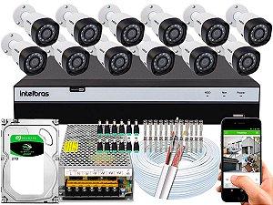 Kit CFTV Intelbras 12 Câmeras VHD 3230 B G4 e DVR de 16 Canais MHDX 3116 2TB