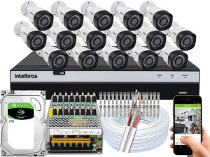 Kit CFTV Intelbras 16 Câmeras VHD 3230 B G4 e DVR de 16 Canais MHDX 3116 2TB