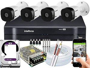 Kit CFTV Intelbras 04 Câmeras VHL 1220 B e DVR de 04 Canais MHDX 1104 1TB WD Purple