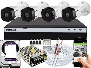 Kit CFTV Intelbras 04 Câmeras VHL 1220 B e DVR de 08 Canais MHDX 3108 2TB WD Purple
