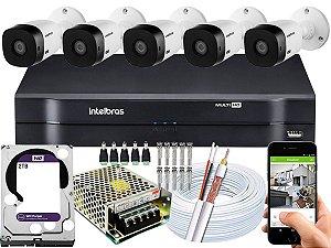 Kit CFTV Intelbras 05 Câmeras VHL 1220 B e DVR de 08 Canais MHDX 1108 2TB WD Purple