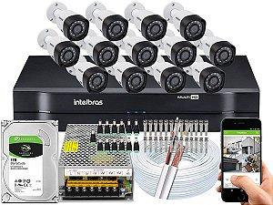 Kit CFTV Intelbras 13 Câmeras VHD 3230 B G4 e DVR de 16 Canais MHDX 1116 1TB
